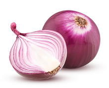 Red Onion With Cut In Half Iso...