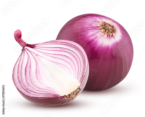 Obraz na plátně Red onion with cut in half isolated on white background.
