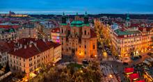 Panoramic City Skyline View Of Prague.