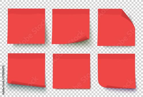 Fotografia  Red post note set vector