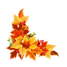 Vector Corner Background With Orange, Yellow, Brown And Green Autumn Leaves.