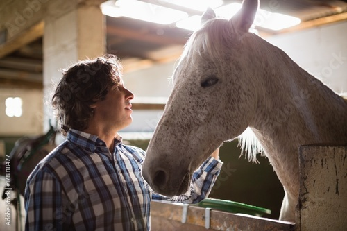 Photo  Man caressing the brown horse in the stable