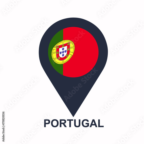 Portuguese-pin-flag-vector Poster