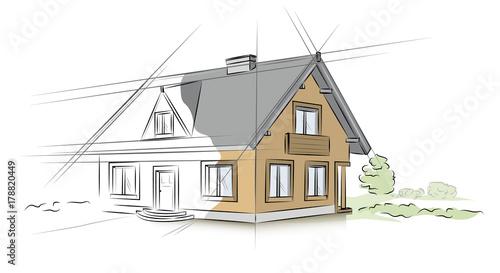Fotografie, Obraz  Linear architectural sketch detached house