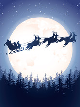Santa Sleigh Driving Over Fore...