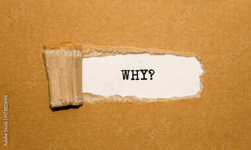 Fotografía  The text WHY appearing behind torn brown paper