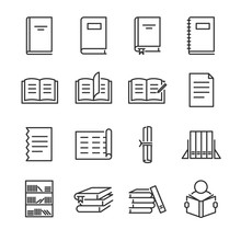 Books Line Icon Set. Included ...