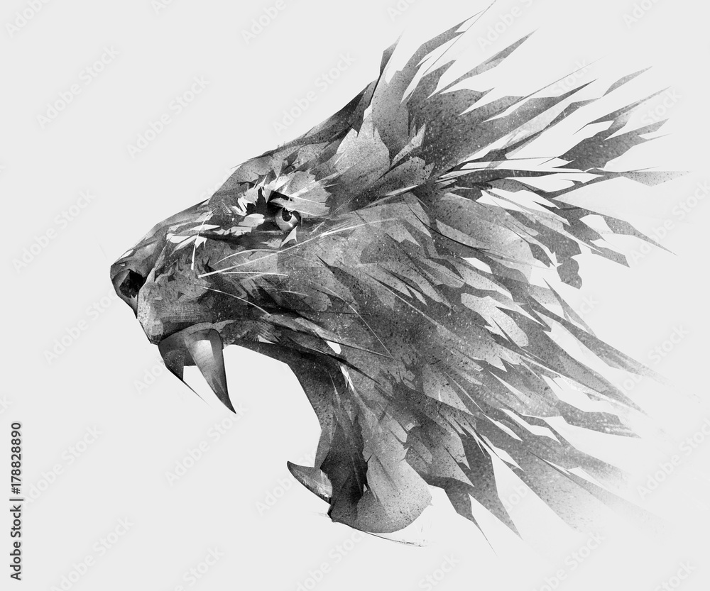 Fototapeta monochrome isolated stylized drawing of lion face side view