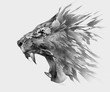 monochrome isolated stylized drawing of lion face side view