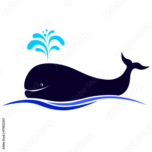 Fotografie, Tablou Vector illustration of a happy blue whale.
