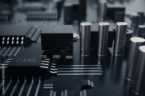 Vászonkép 3D rendering Central Computer Processors CPU concept