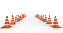 Traffic Cones In A Row