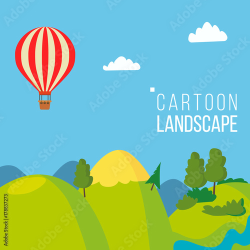 Cadres-photo bureau Bleu vert Cartoon Landscape Background Vector. Spring, Summer Season Meadow Landscape. Tree, Green Field, Clouds. Cartoon Flat Illustration