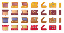 Old-fashioned Vintage Suitcases With Stickers