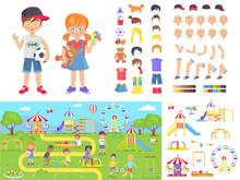 Little Children And Summer Playground Constructors