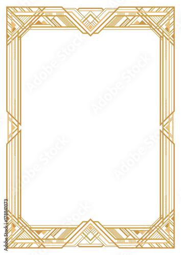rectangular golden retro frame  art deco style of 1920s