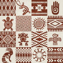 Pieces Of American Indians Ethnic Patterns And Symbols Compiled In Seamless Texture. Removable Grunge Effect.