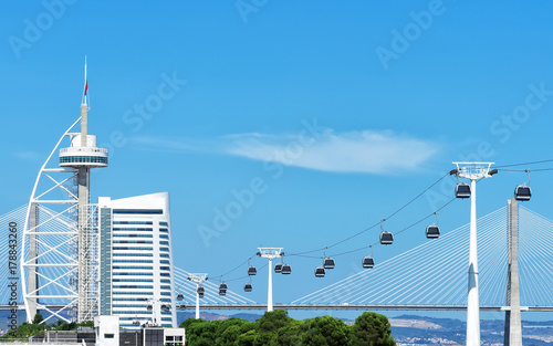 Cable car and Vasco da Gama tower in Lisbon.
