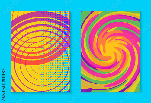 Abstract memphis colorful card background set Canvas Print