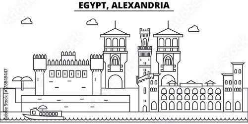 Egypt, Alexandria architecture skyline: buildings, silhouette, outline landscape, landmarks Wallpaper Mural