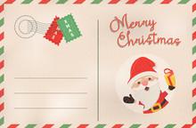 Merry Christmas Retro Santa Claus Holiday Postcard