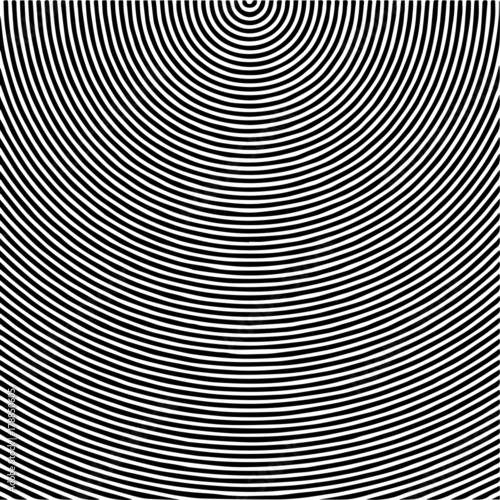 Fotografie, Obraz  Radial waves with interference patterns, Black and white optical illusion style