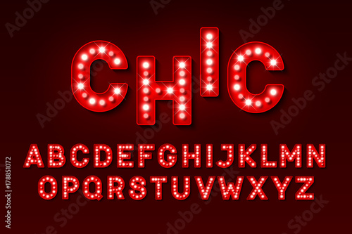 Photo  Broadway style retro light bulb font