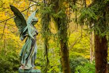 Angel Sculpture On Graveyard