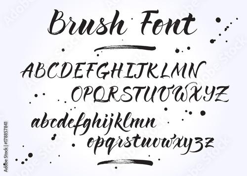 Brush Lettering Vector Alphabet Modern Calligraphy Handwritten Letters