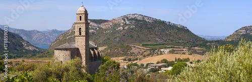 Fotografie, Obraz  Corsica, 28/08/2017: vista panoramica della chiesa di San Martino (XVI secolo) a
