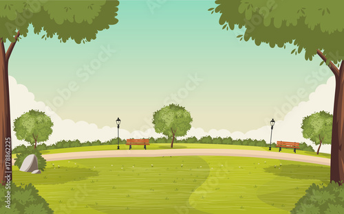 Fototapeta Colorful green park. Nature background. obraz