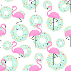 Fototapeta Do cukierni Pink flamingos and donuts trendy seamless pattern on white background. Exotic art background. Design for fabric, wallpaper, textile and decor.