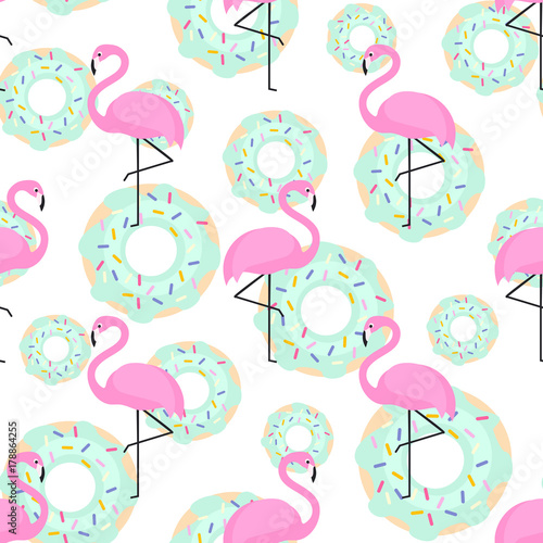 Cotton fabric Pink flamingos and donuts trendy seamless pattern on white background. Exotic art background. Design for fabric, wallpaper, textile and decor.