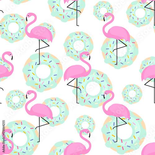 Materiał do szycia Różowe flamingi i pączki modny wzór na białym tle. Egzotyczne tło. Projekt dla tkaniny, Tapety, tekstylne i wystrój.