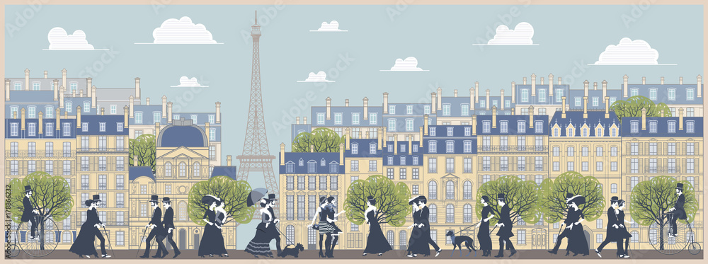 The landscape of the historic part of Paris, the promenade, old traditinal buildings, palaces and walking people. Handmade drawing vector illustration. Vintage style.