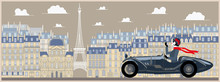 Flapper Girl In A Retro Car On A Background Of Paris. Handmade Drawing Vector Illustration. Vintage Style.