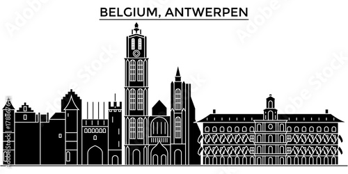 Foto op Plexiglas Antwerpen Belgium, Antwerpen architecture skyline, buildings, silhouette, outline landscape, landmarks. Editable strokes. Flat design line banner, vector illustration concept.