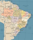 Brazil Map - Vintage Vector Illustration - 178867899