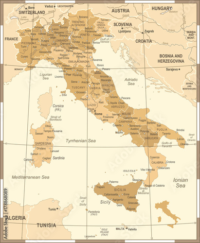 Italy Map - Vintage Vector Illustration Wallpaper Mural