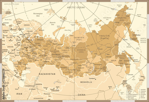 Russia Map - Vintage Vector Illustration Fototapet