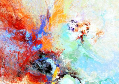 Kolorowe abstrakcyjne malarstwo z jasnymi artystycznymi plamami. Nowoczesny futurystyczny wzór.