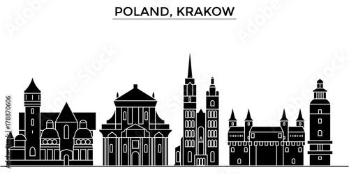 Fototapeta Poland, Krakow architecture skyline, buildings, silhouette, outline landscape, landmarks. Editable strokes. Flat design line banner, vector illustration concept.  obraz
