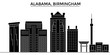 Usa, Alabama. Birmingham architecture skyline, buildings, silhouette, outline landscape, landmarks. Editable strokes. Flat design line banner, vector illustration concept.