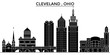 Usa, Ohio Cleveland architecture skyline, buildings, silhouette, outline landscape, landmarks. Editable strokes. Flat design line banner, vector illustration concept.