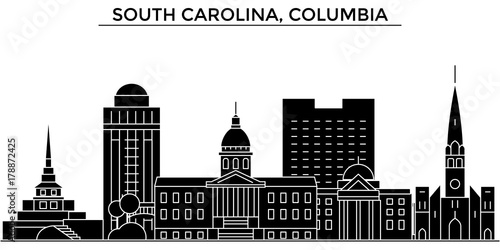 Fototapeta Usa, South Carolina, Columbia architecture skyline, buildings, silhouette, outline landscape, landmarks. Editable strokes. Flat design line banner, vector illustration concept. obraz