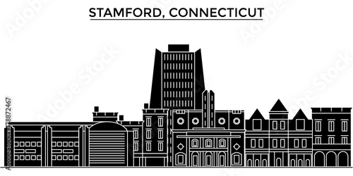 Photo  Usa, Stamford, Connecticut architecture skyline, buildings, silhouette, outline landscape, landmarks