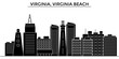 Usa, Virginia, Virginia Beach architecture skyline, buildings, silhouette, outline landscape, landmarks. Editable strokes. Flat design line banner, vector illustration concept.