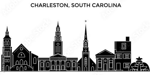 Usa, South Carolina, Charleston architecture skyline, buildings, silhouette, outline landscape, landmarks Fototapet
