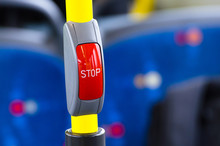 Button Red Stop In The Cabin Bus.