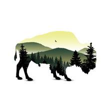 Silhouette Of Bison With Mount...